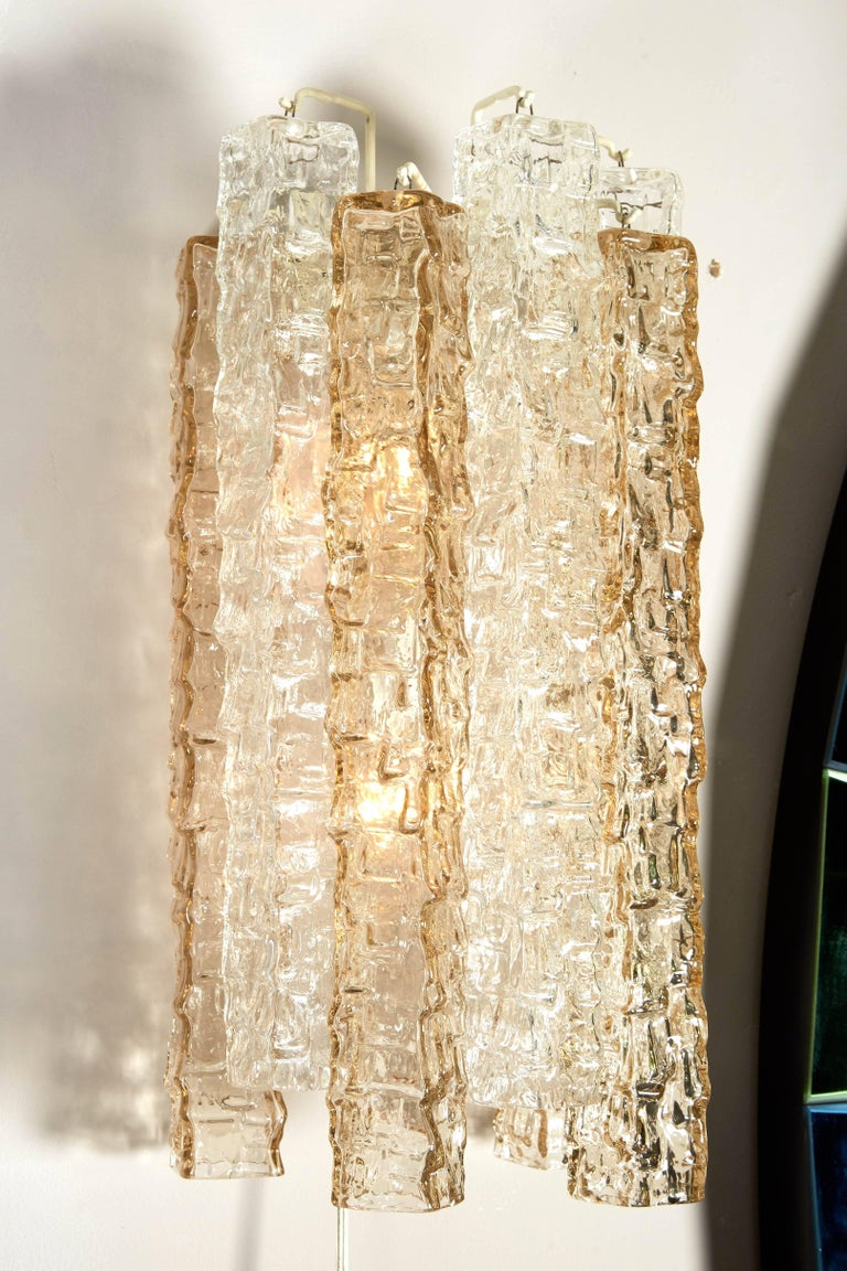 Pair of Venini Smoke and Clear Rectangular Glass Sconces For Sale 2