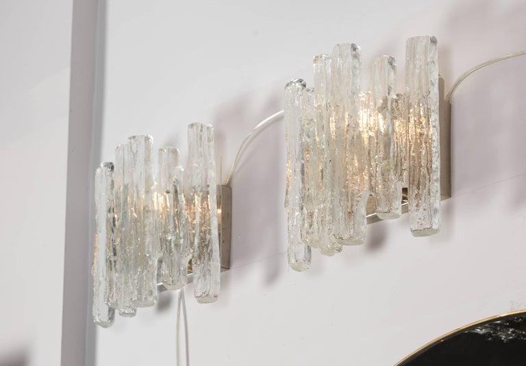 Mid-Century Modern Vintage Kalmar Ice Glass Sconces For Sale