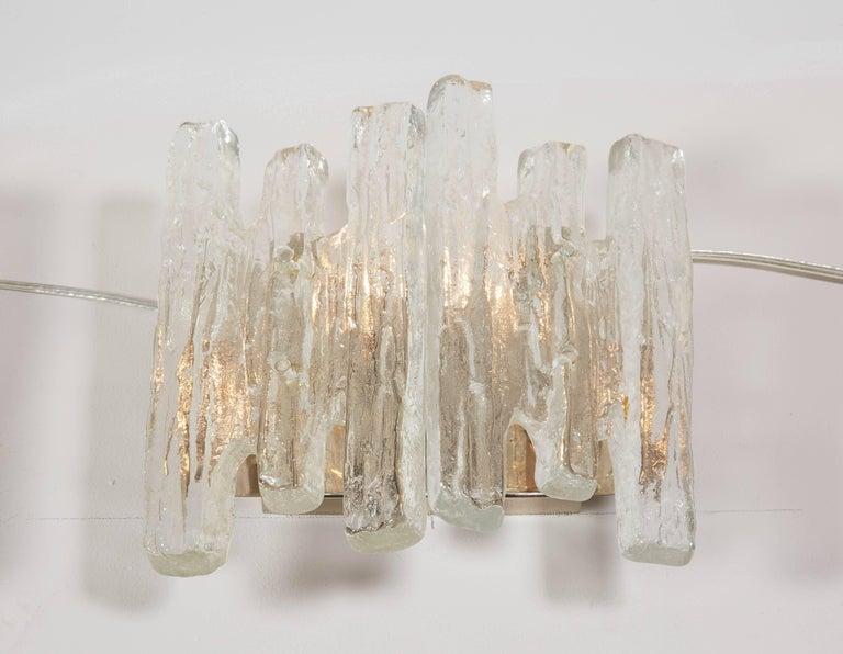 Austrian Vintage Kalmar Ice Glass Sconces For Sale