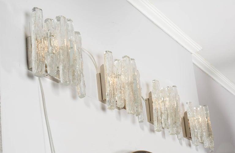 Blown Glass Vintage Kalmar Ice Glass Sconces For Sale