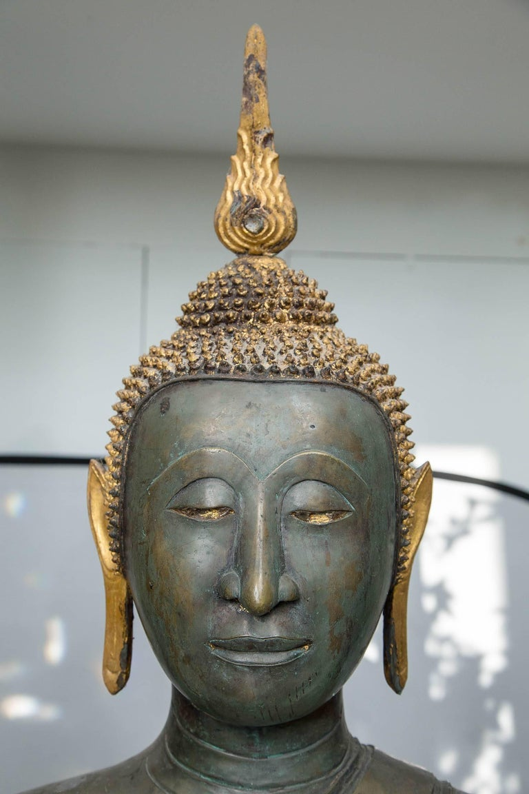 Cast Thai Bronze Seated Buddha For Sale