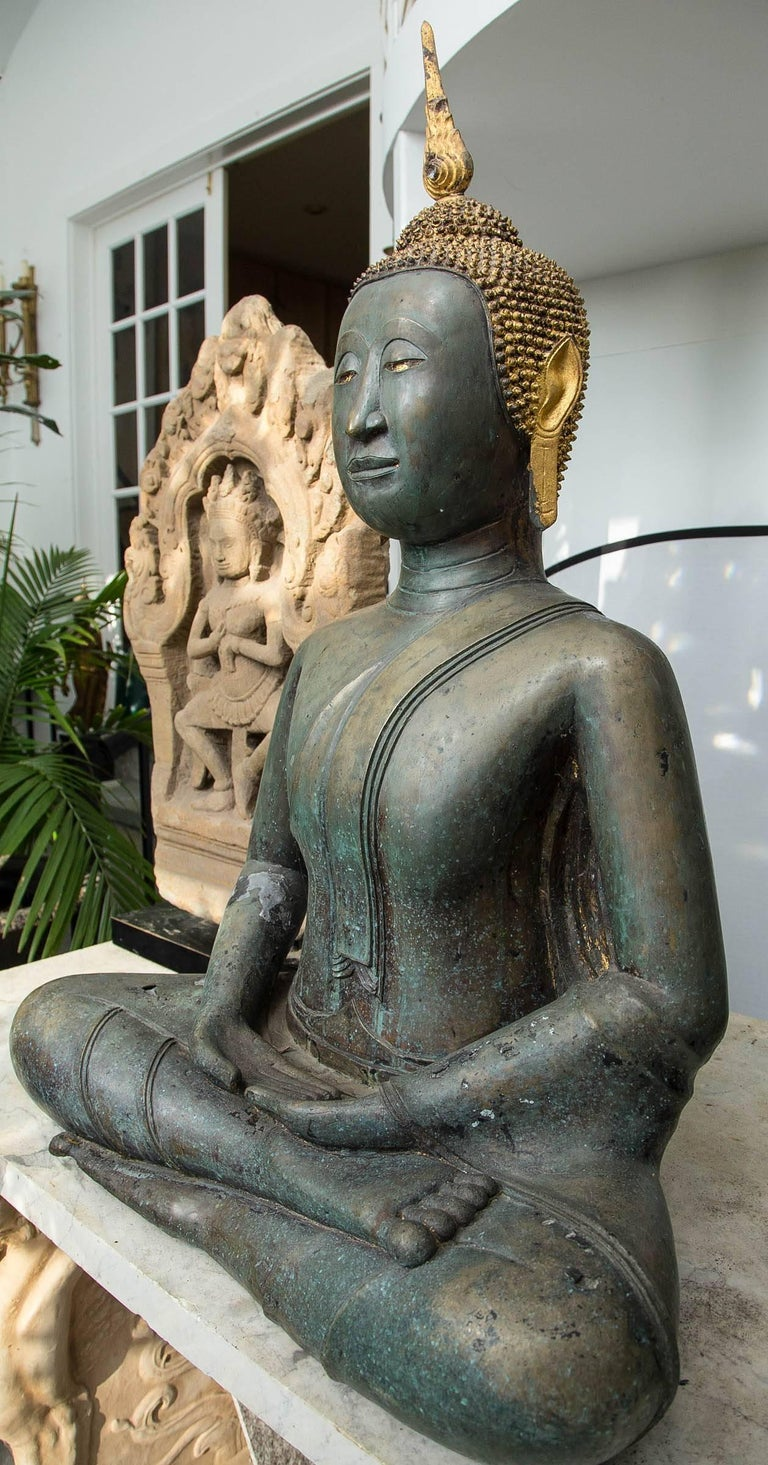 Thai Bronze Seated Buddha For Sale 3