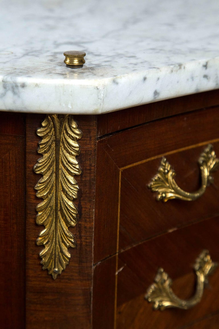 Inlay Pair Marble Top Bedside Tables For Sale