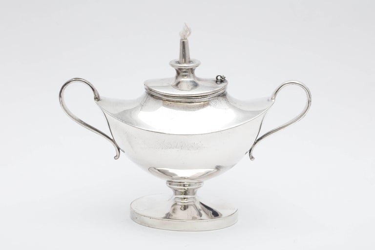 Edwardian Sterling Silver Aladdin's Lamp-Style Table Oil Lamp or Lighter For Sale 1