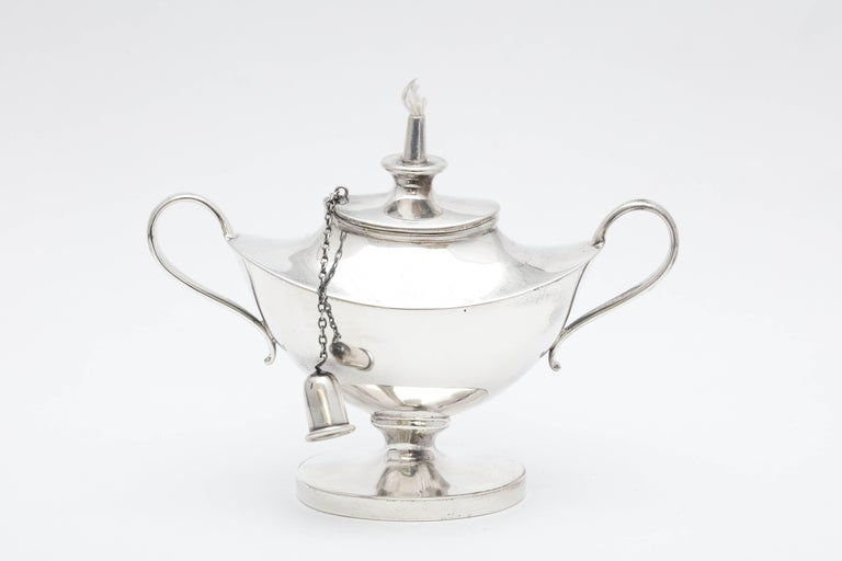 Edwardian Sterling Silver Aladdin's Lamp-Style Table Oil Lamp or Lighter For Sale 3