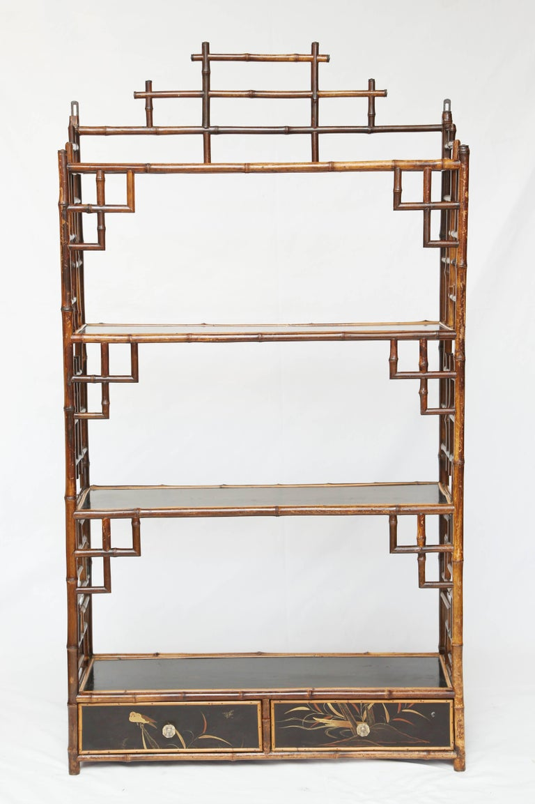 English Beautiful Hanging 19th Century Bamboo Étagère For Sale