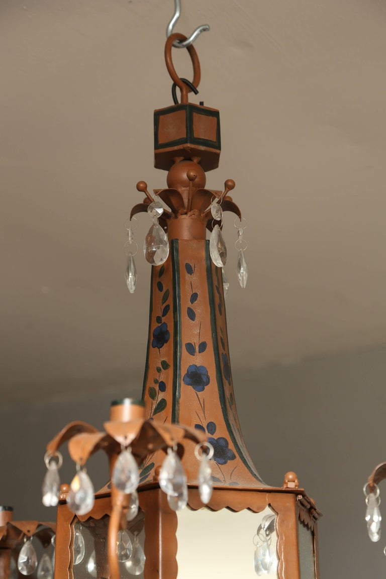 Italian Pair of Whimsical Pagoda Form Tole Chandeliers For Sale