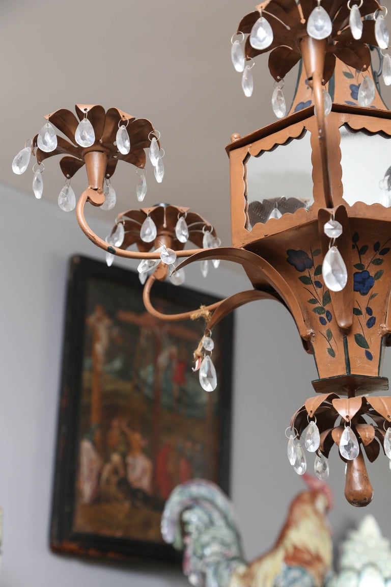 20th Century Pair of Whimsical Pagoda Form Tole Chandeliers For Sale