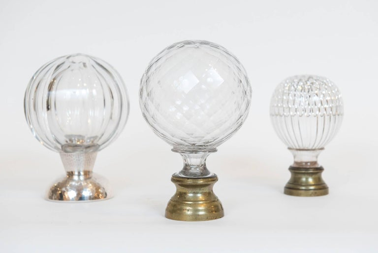 This grouping of gorgeous blown glass finials from one person's collection are great gifts, collectibles, or decorative objects for traditional, contemporary or modern rooms! Two available. The second and fifth from the left are still available.
