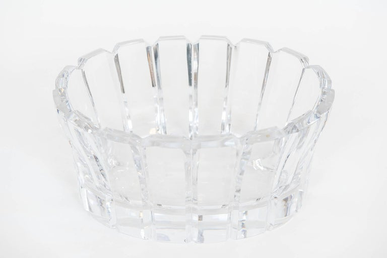 This heavy and stunning crystal oval bowl or center piece is sure to make a statement in a traditional, contemporary or modern room! Original sticker label on side.
