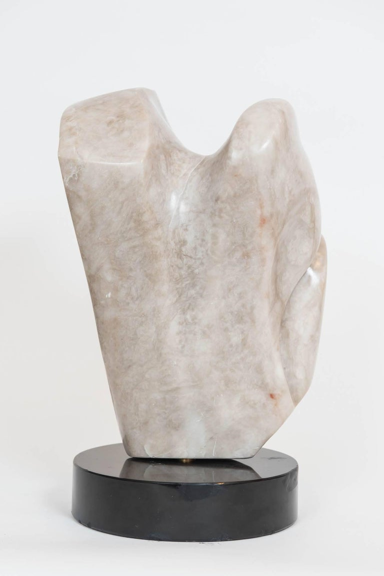 Hand-Carved Signed Marble Abstract Sculpture For Sale