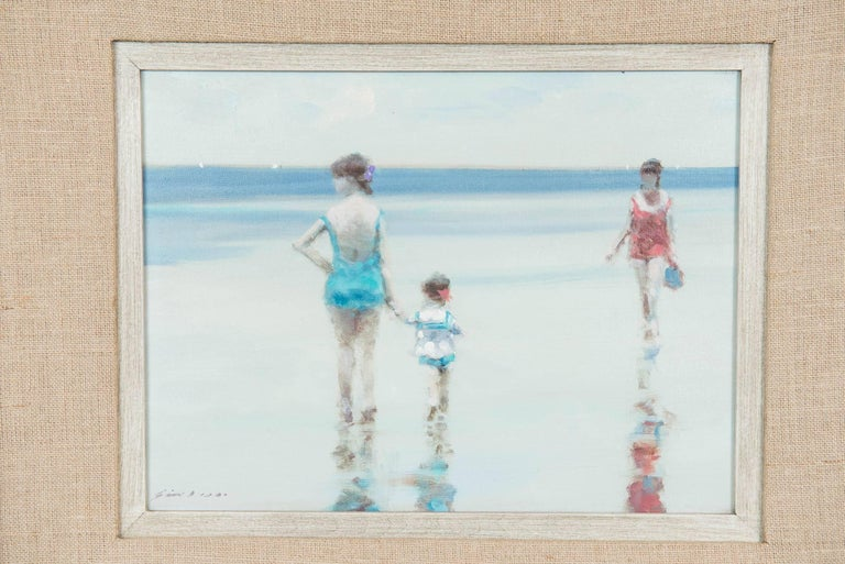 This charming and beautiful oil on canvas of a coastal beach scene with Mother and Child is by American impressionist Andre Gisson (1929-2003). The subject matter and