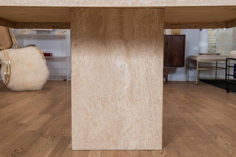 Hand-Crafted Vintage Travertine Breakfast Table/Desk For Sale