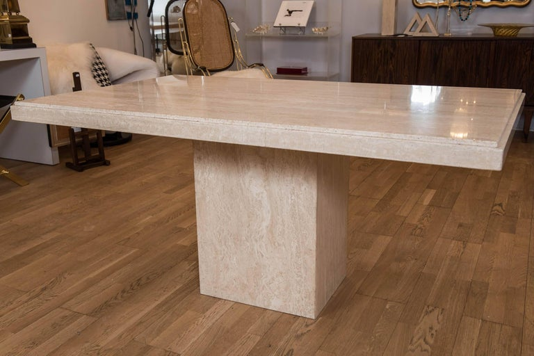 Vintage Travertine Breakfast Table/Desk In Excellent Condition For Sale In Toronto, ON