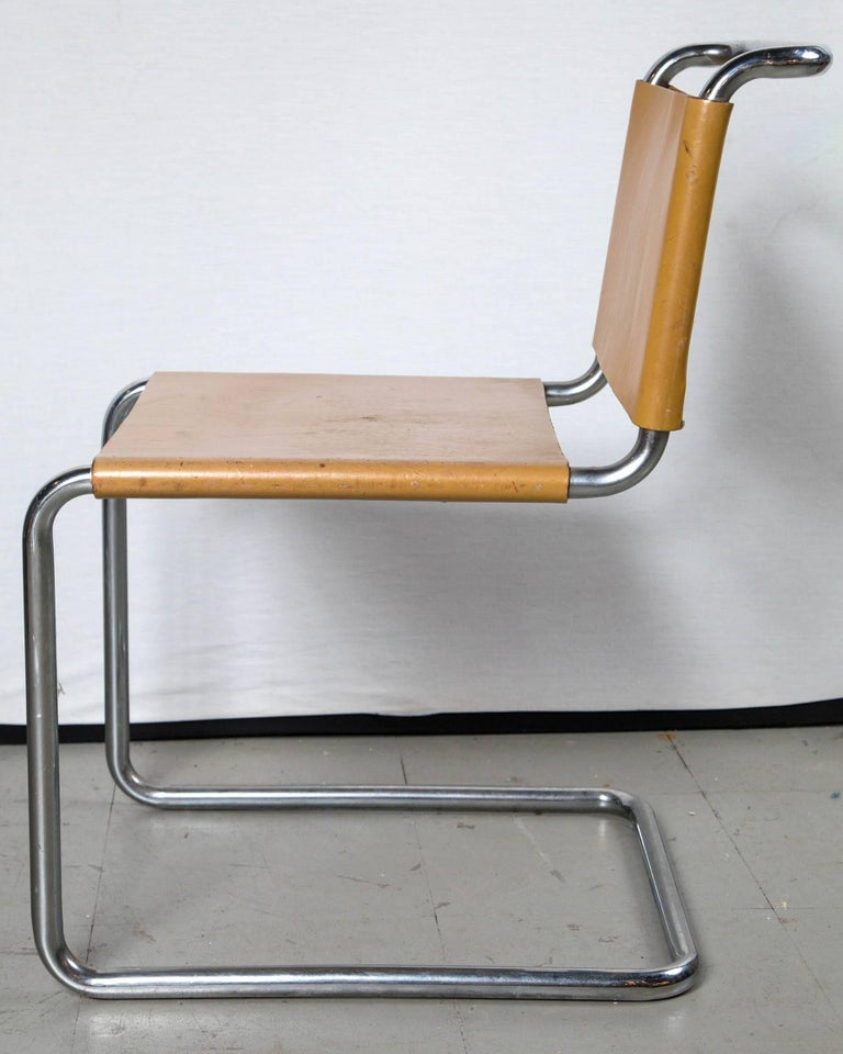 Mid-Century Modern Vintage Leather Marcel Breuer Chrome Chairs For Sale