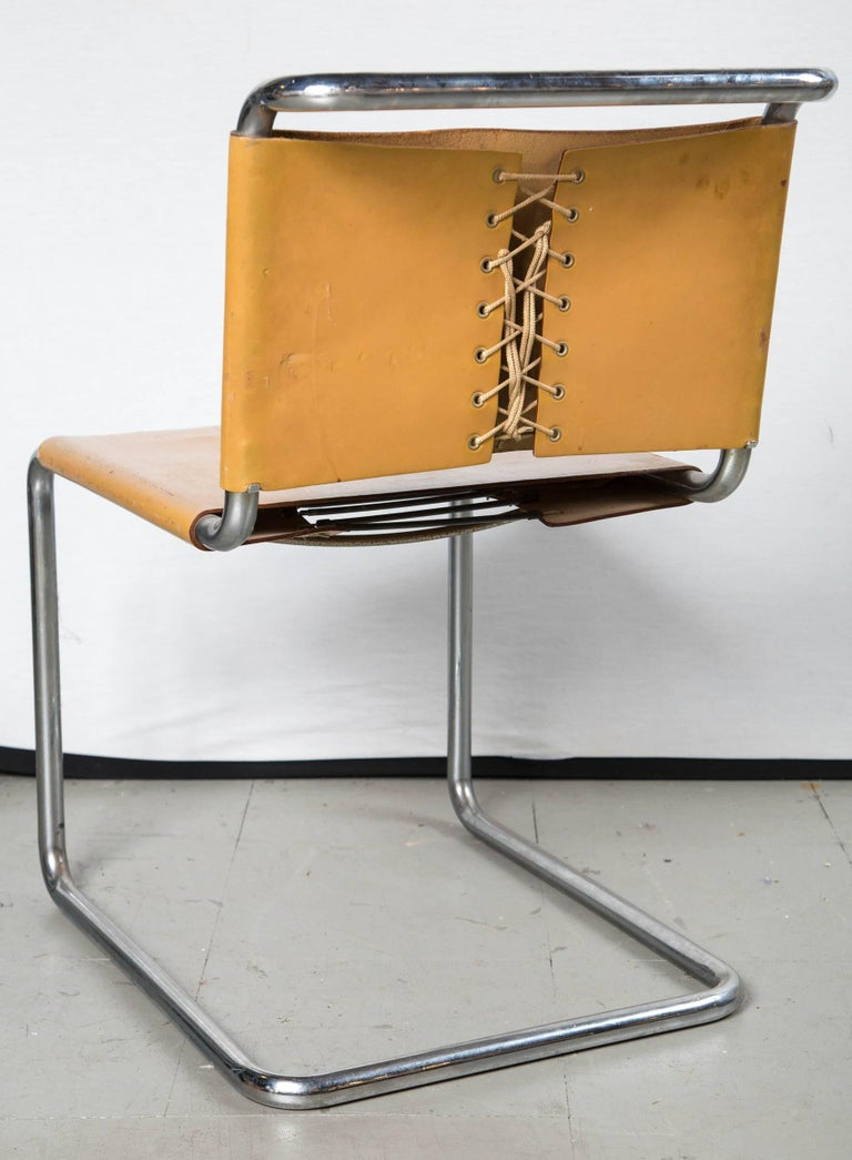 Vintage Leather Marcel Breuer Chrome Chairs In Excellent Condition For Sale In Stamford, CT