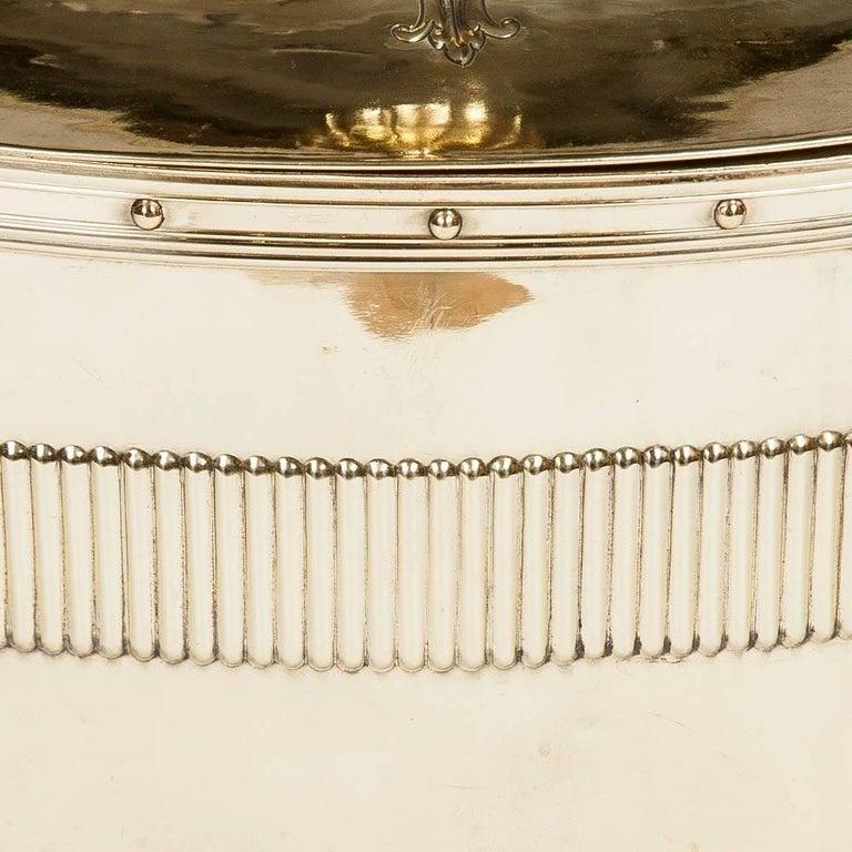 English Oval Neoclassical Brass Coal Bin For Sale