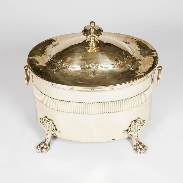Oval Neoclassical Brass Coal Bin In Good Condition For Sale In London, GB