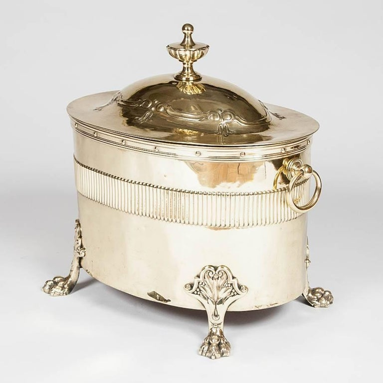 Oval Neoclassical Brass Coal Bin For Sale 1