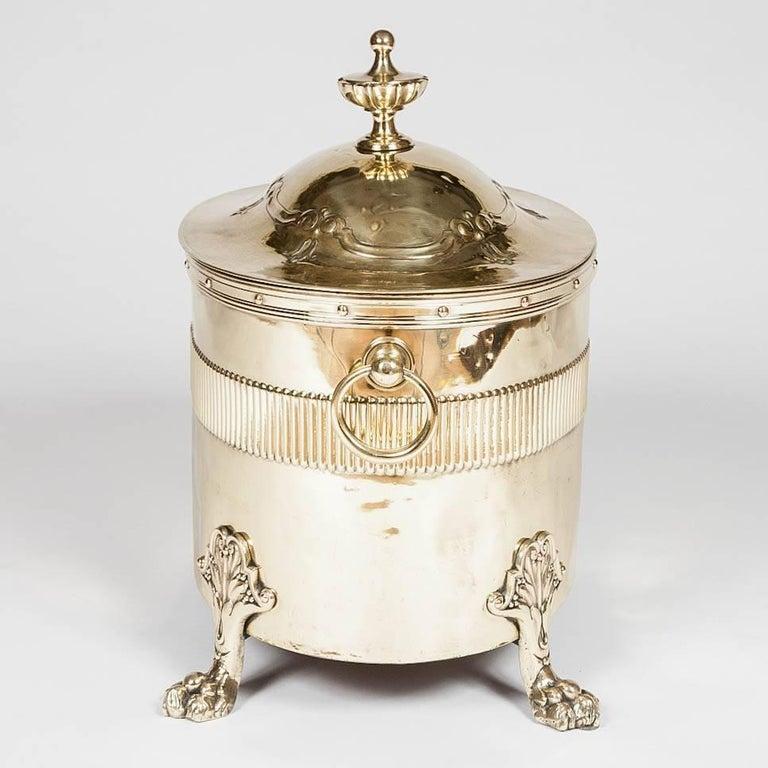 Oval Neoclassical Brass Coal Bin For Sale 2