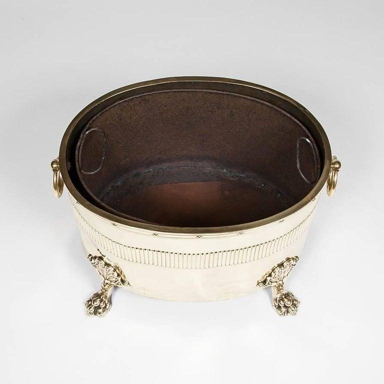 Oval Neoclassical Brass Coal Bin For Sale 3