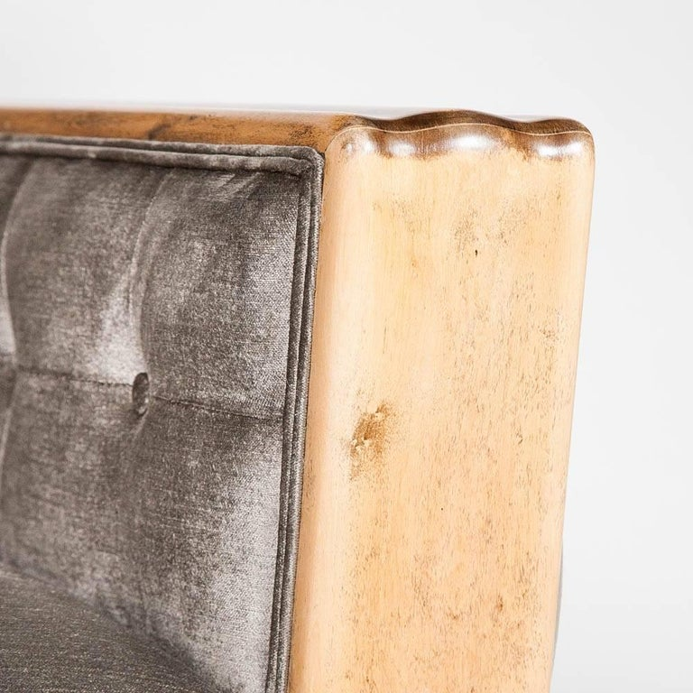 Swedish Pair of Stain Birch Art Deco Armchairs For Sale