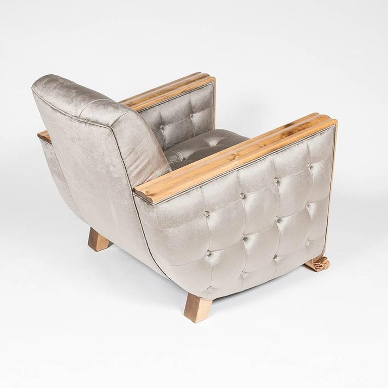 Pair of Stain Birch Art Deco Armchairs For Sale 2
