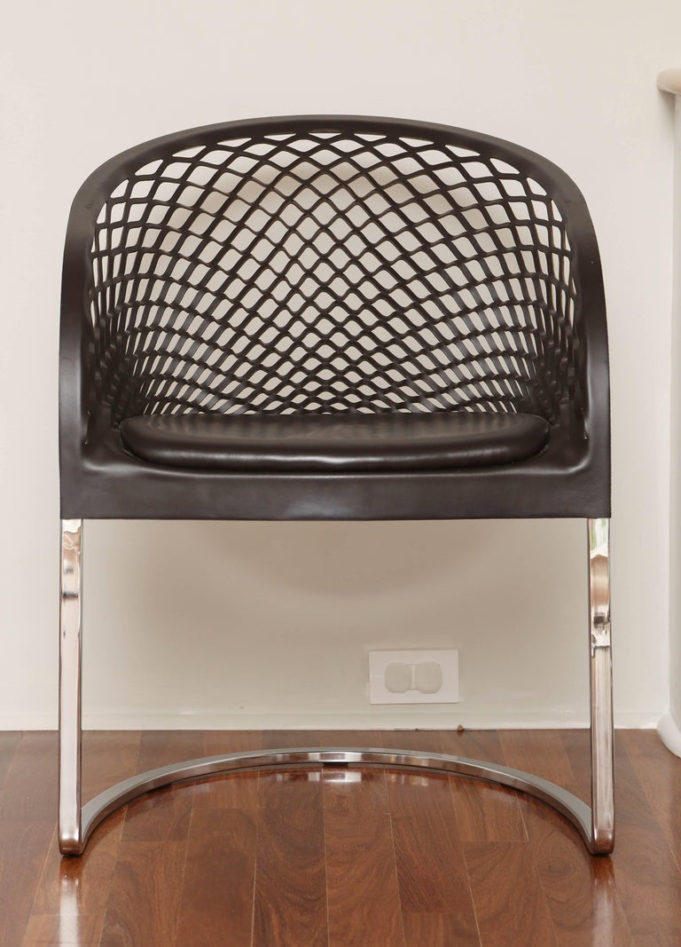 Mid-Century Modern Set of Six Chrome and Leather Matteo Grassi Dining Chairs, 1970s For Sale