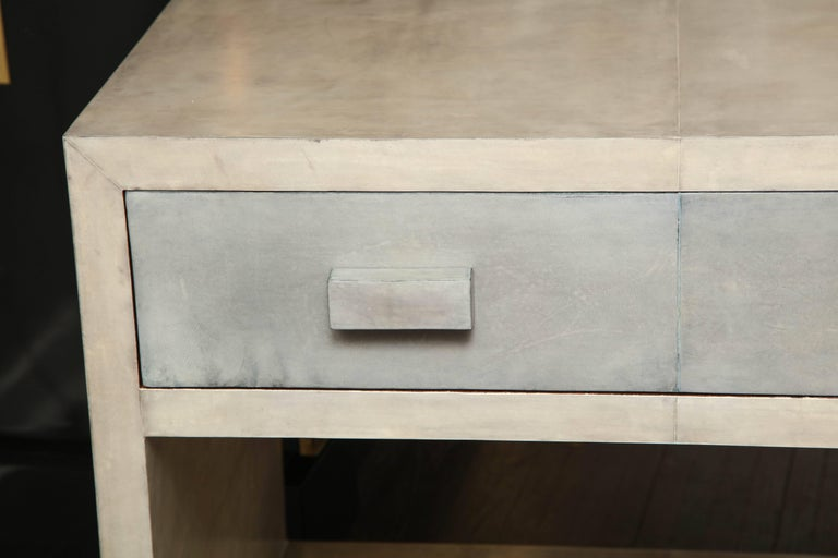 Modern Pair of Parchment Nightstands For Sale