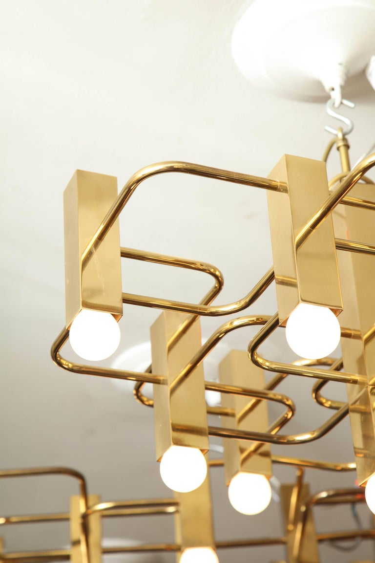 Brass Nine-Arm Sciolari Chandelier Pendant For Sale