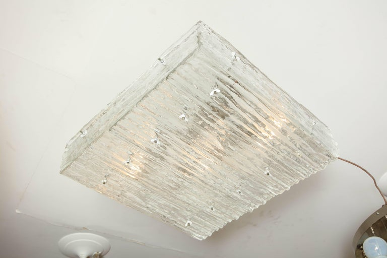 Pressed Medium Sized Square Kalmar Glass Flush-Mount Fixture For Sale