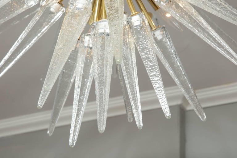 Polished Murano Clear Spike Half Flush-Mount Sputnik For Sale
