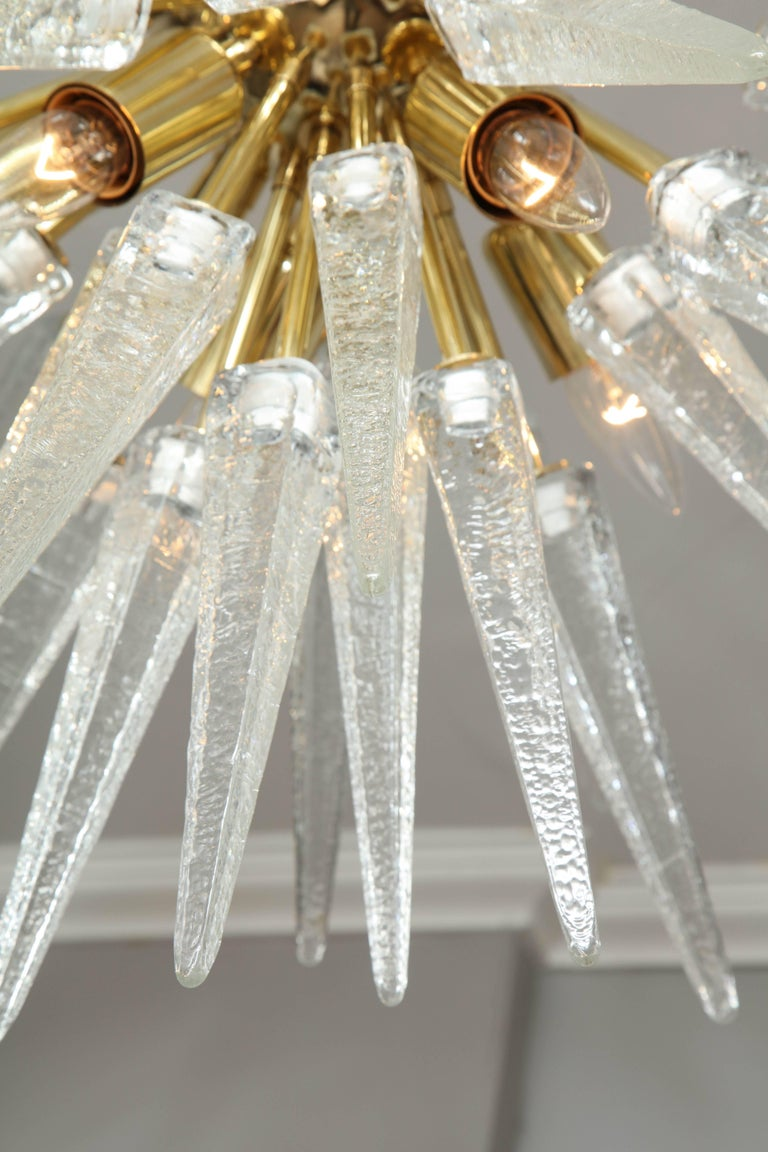 Murano Clear Spike Half Flush-Mount Sputnik In Excellent Condition For Sale In New York, NY