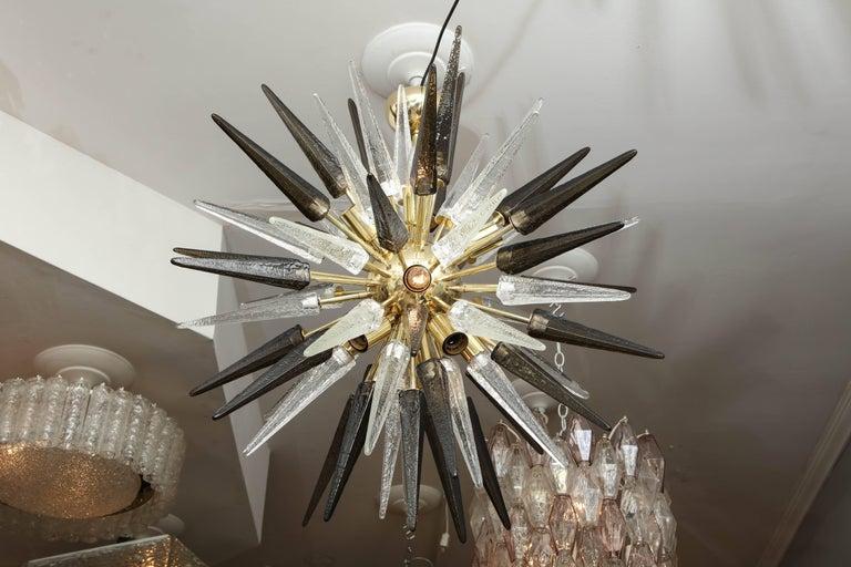 Polished Murano Smoke and Clear Glass Spike Sputnik For Sale