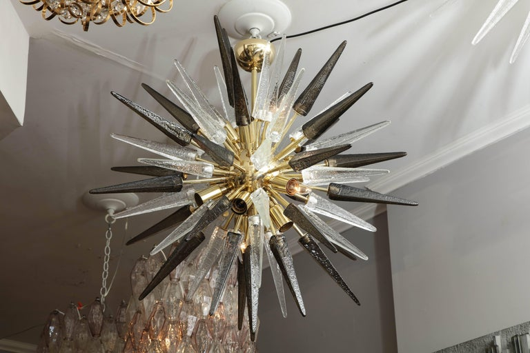 Contemporary Murano Smoke and Clear Glass Spike Sputnik For Sale