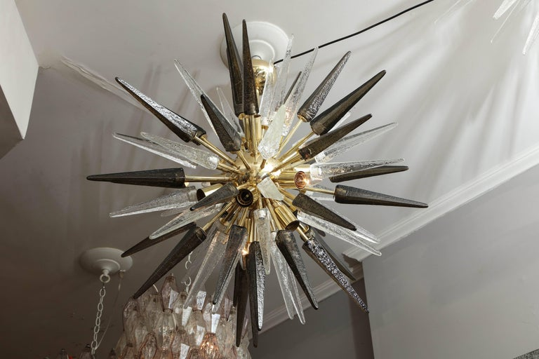 Brass Murano Smoke and Clear Glass Spike Sputnik For Sale