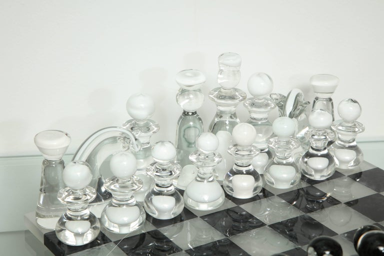 Italian Murano Glass Chess Set For Sale