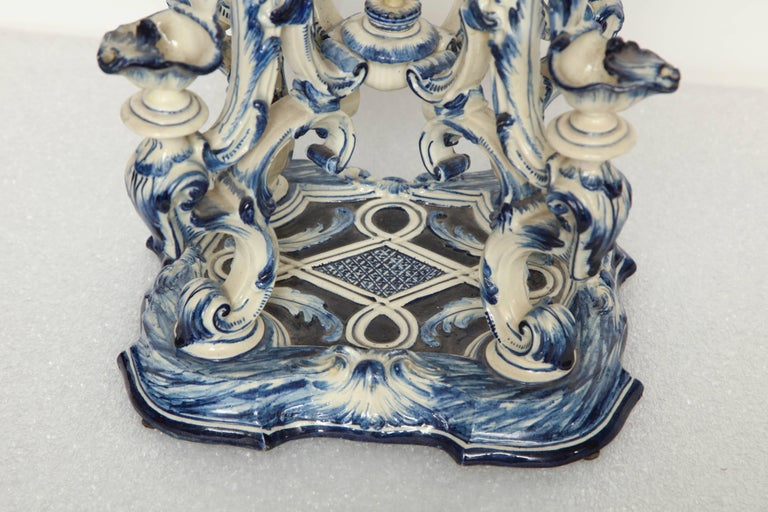 19th Century Italian Blue and White Centre Piece For Sale 2