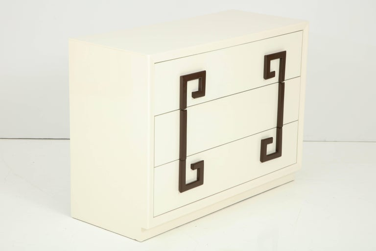 Ivory Lacquer Chest with Greek Key Pulls In Excellent Condition For Sale In New York, NY