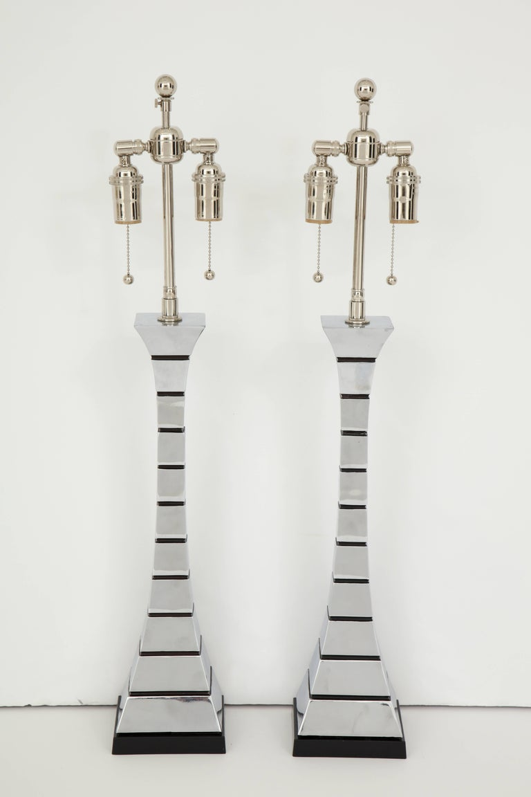 Pair of 1970s Midcentury Polished Chrome Lamps For Sale 2