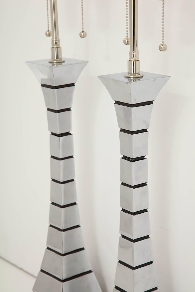 Pair of 1970s Midcentury Polished Chrome Lamps For Sale 4