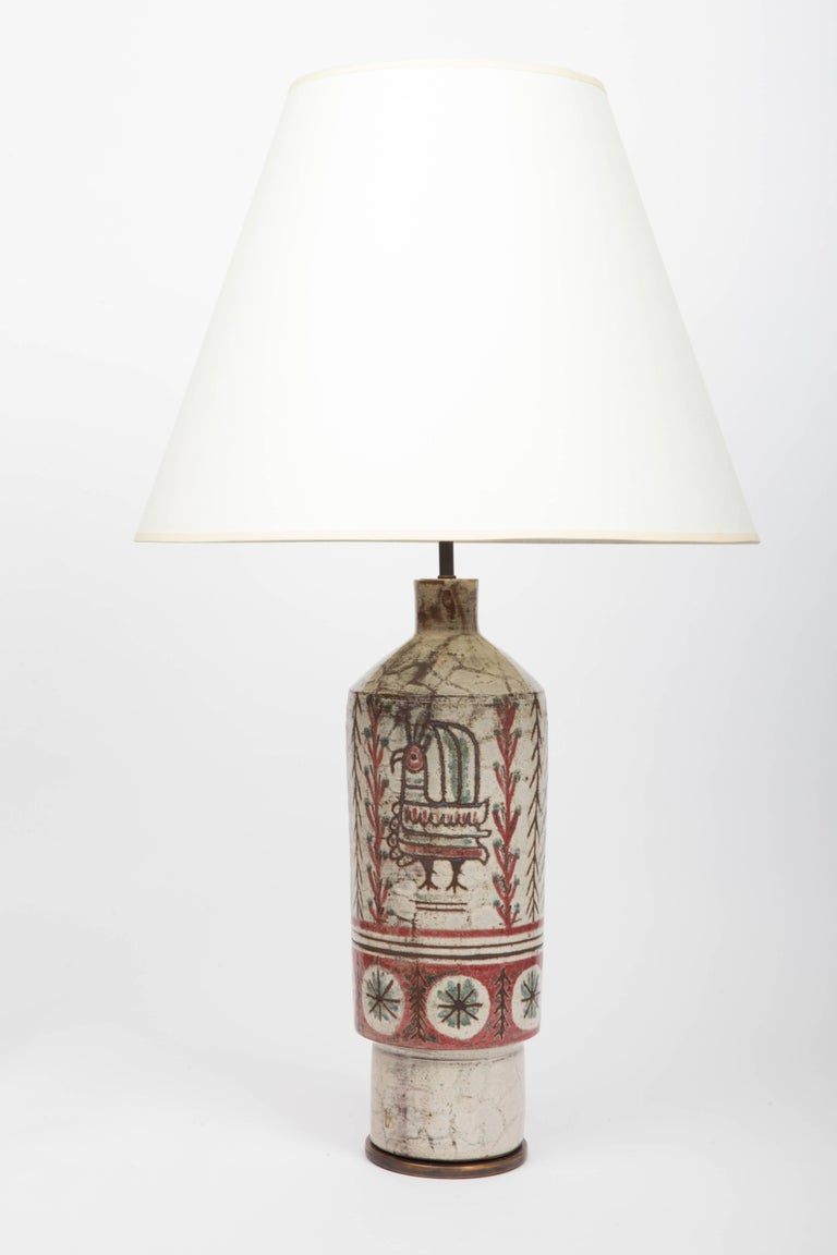 French Bird and Flowers Table Lamp in Stoneware by Gustave Reynaud For Sale