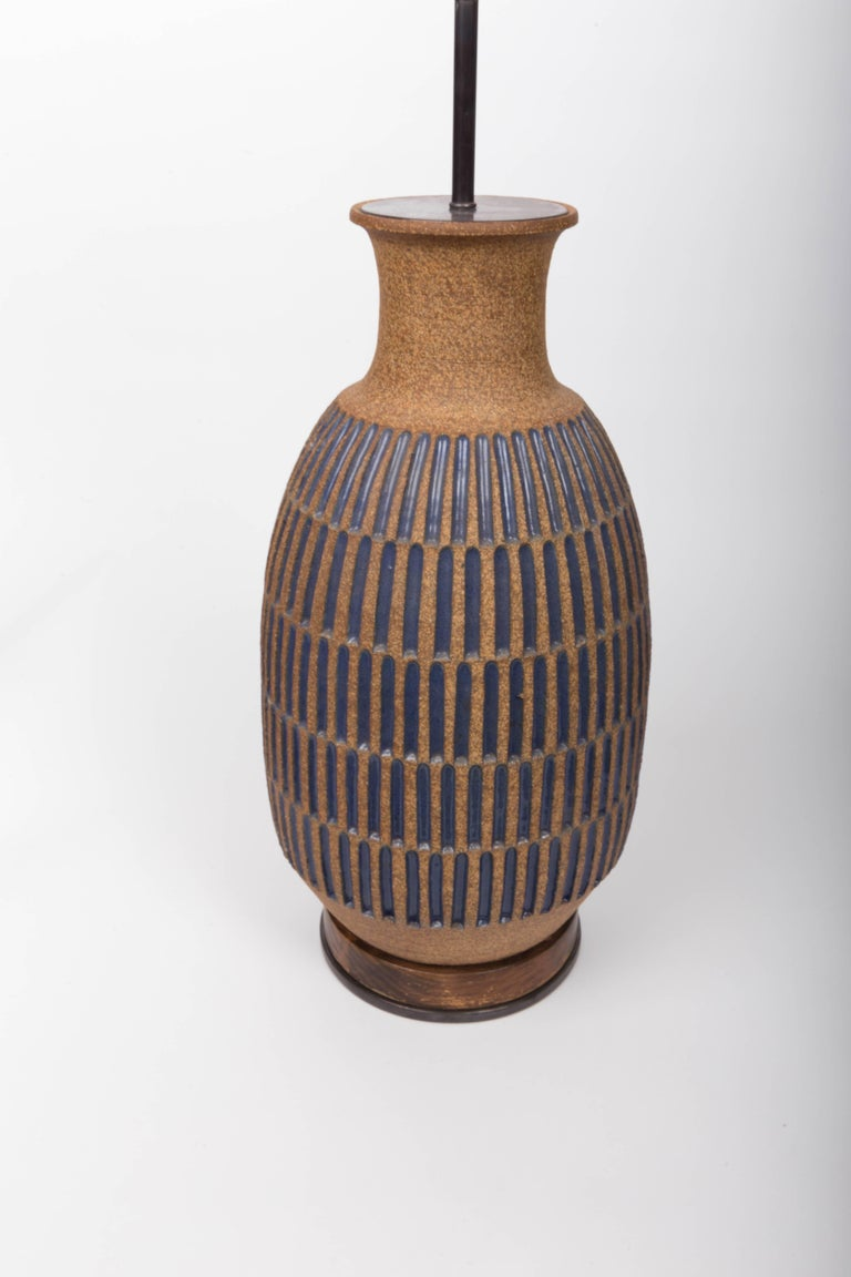 Mid-20th Century Blue Glaze Earthenware Table Lamp by David Cressey For Sale