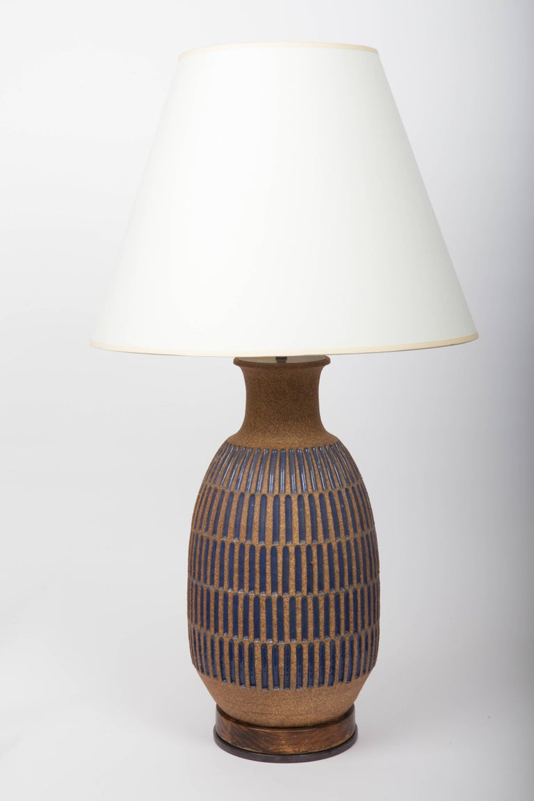 Blue glaze earthenware table lamp by David Cressey