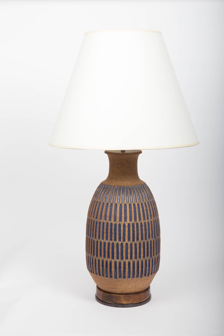 Blue Glaze Earthenware Table Lamp by David Cressey For Sale 1