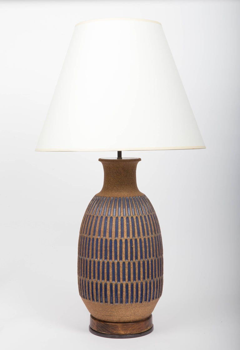 Blue Glaze Earthenware Table Lamp by David Cressey For Sale 2
