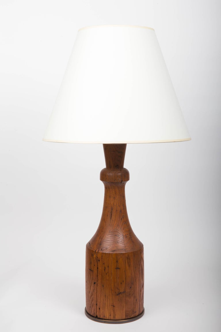 Rustic Hand-Carved Wooden Table Lamp with Bronze Base For Sale 5
