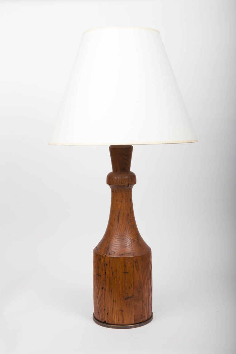 Rustic Hand-Carved Wooden Table Lamp with Bronze Base In Excellent Condition For Sale In East Hampton, NY