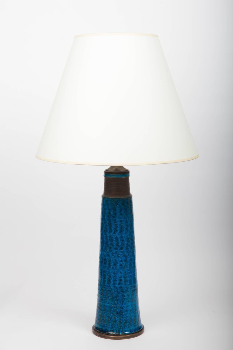 Bright cobalt blue ceramic table lamp, Denmark, 1960s