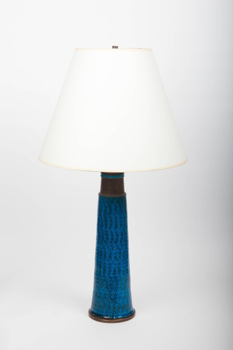 Danish Bright Cobalt Blue Ceramic Table Lamp, Denmark, 1960s For Sale